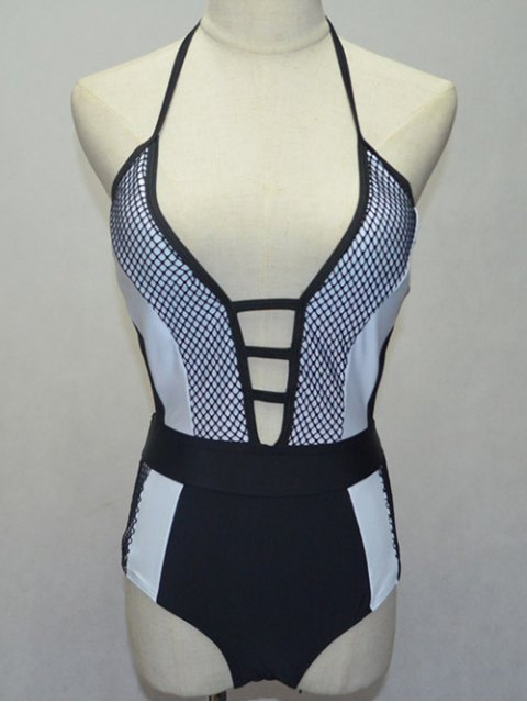 ladies Black and White Halterneck One-Piece Swimwear - WHITE AND BLACK S Mobile