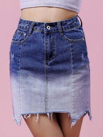 Ombre Color High Waist Denim Skirt - Blue