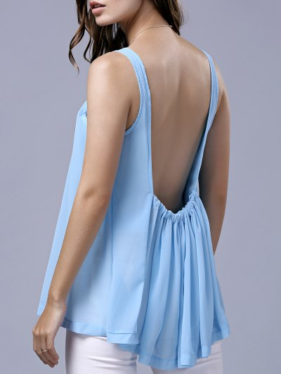 Backless Scoop Neck Sleeveless Chiffon T-Shirt - Azure
