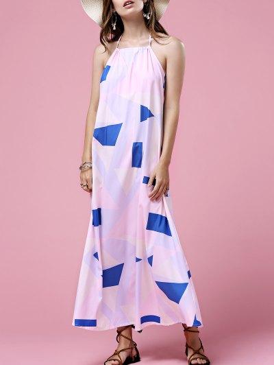 Print Open Back Halter Sleeveless Dress - White