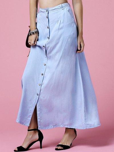Light Blue High Neck Denim Skirt - LIGHT BLUE S Mobile