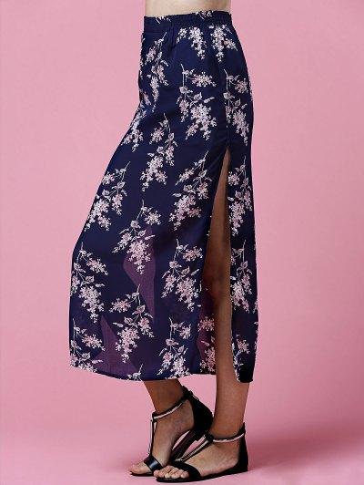 Side Slit Elastic Waist Tiny Flower Print Midi Skirt - DEEP BLUE S Mobile