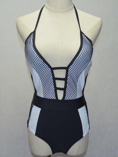 Black And White Halterneck One-Piece Swimwear - White And Black