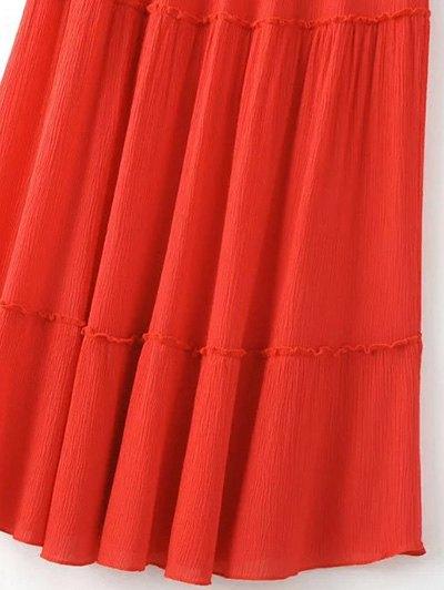 Solid Color Elastic Waist High Waist A-Line Skirt - JACINTH L Mobile