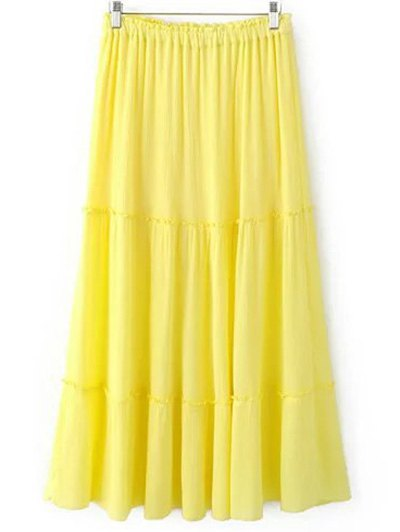 Solid Color Elastic Waist High Waist A-Line Skirt - YELLOW L Mobile