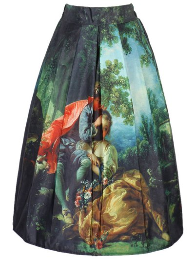 Figure Print A Line Skirt - COLORMIX ONE SIZE(FIT SIZE XS TO M) Mobile