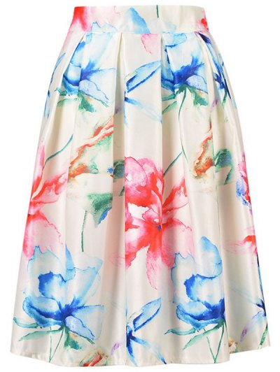 High Waisted A Line Flower Print Skirt - OFF-WHITE ONE SIZE(FIT SIZE XS TO M) Mobile
