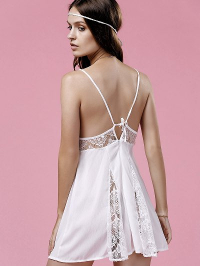 Lace Splice Cami White Mini Dress - WHITE M Mobile