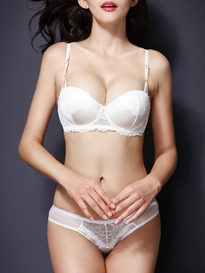 Push Up Spaghetti Strap Lace Bra Set For Women