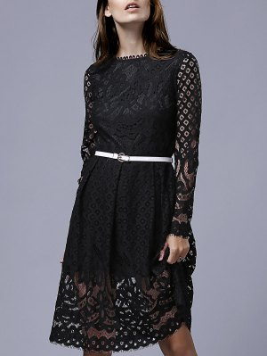 Lace Round Neck Long Sleeve A Line Dress - Black