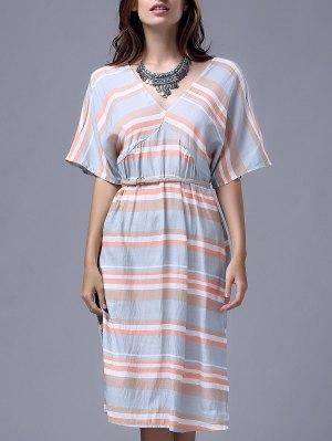 Striped V Neck Half Sleeve A Line Dress - Stripe