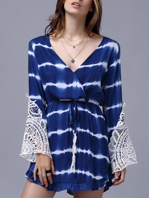 Lace Splice Plunging Neck Long Sleeve Dress - Blue