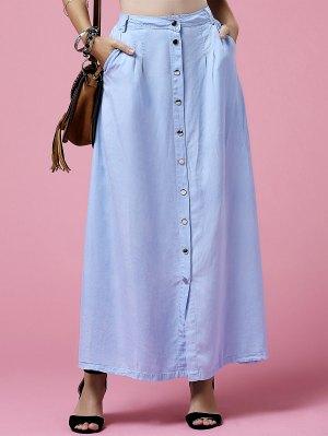 Light Blue High Neck Denim Skirt - Light Blue