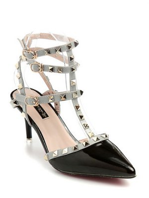 Rivet Pointed Toe Stiletto Heel Sandals - Black
