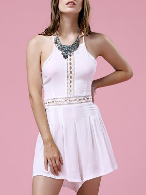 White Hollow Out Cami Romper - White