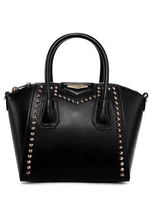 PU Leather Solid Color Rivet Tote Bag - Black