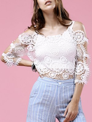 Lace Hollow Out Cold Shoulder Blouse - White