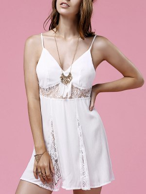 Lace Splice Cami White Mini Dress - White