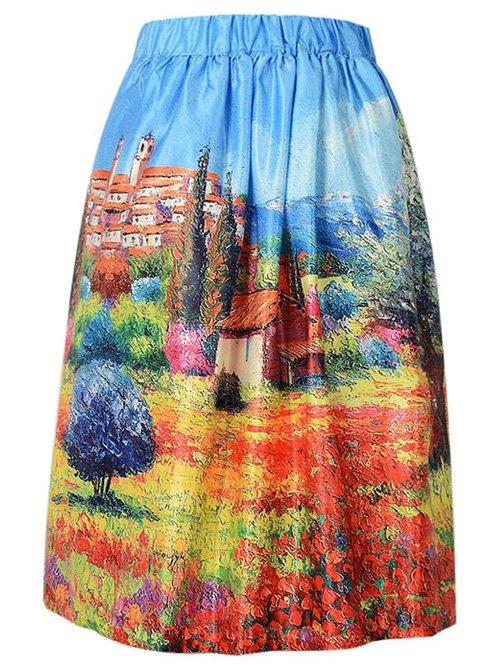 Scenery Print A Line Skirt