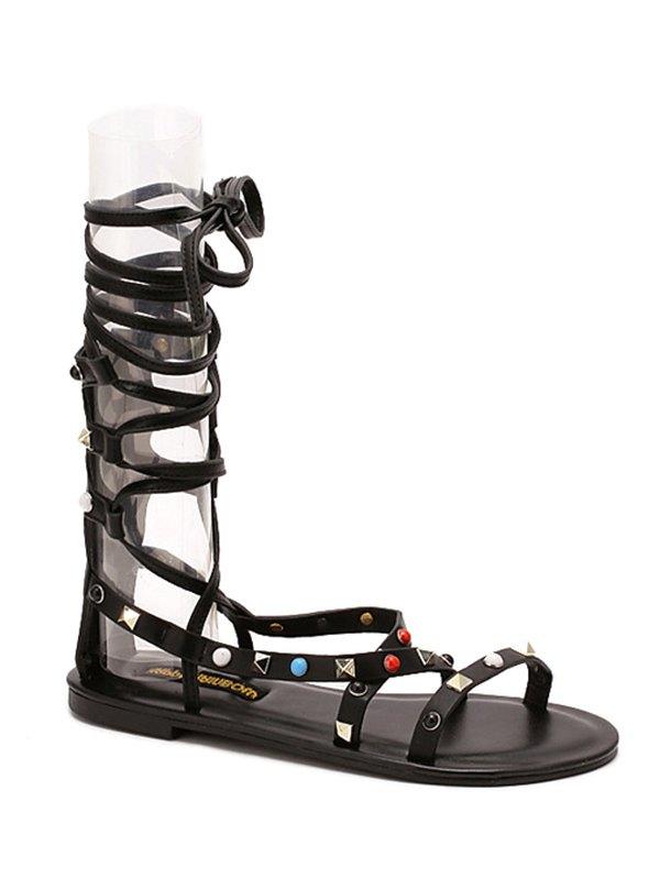 Buy Flat Heel Rivet Lace-Up Sandals BLACK 37