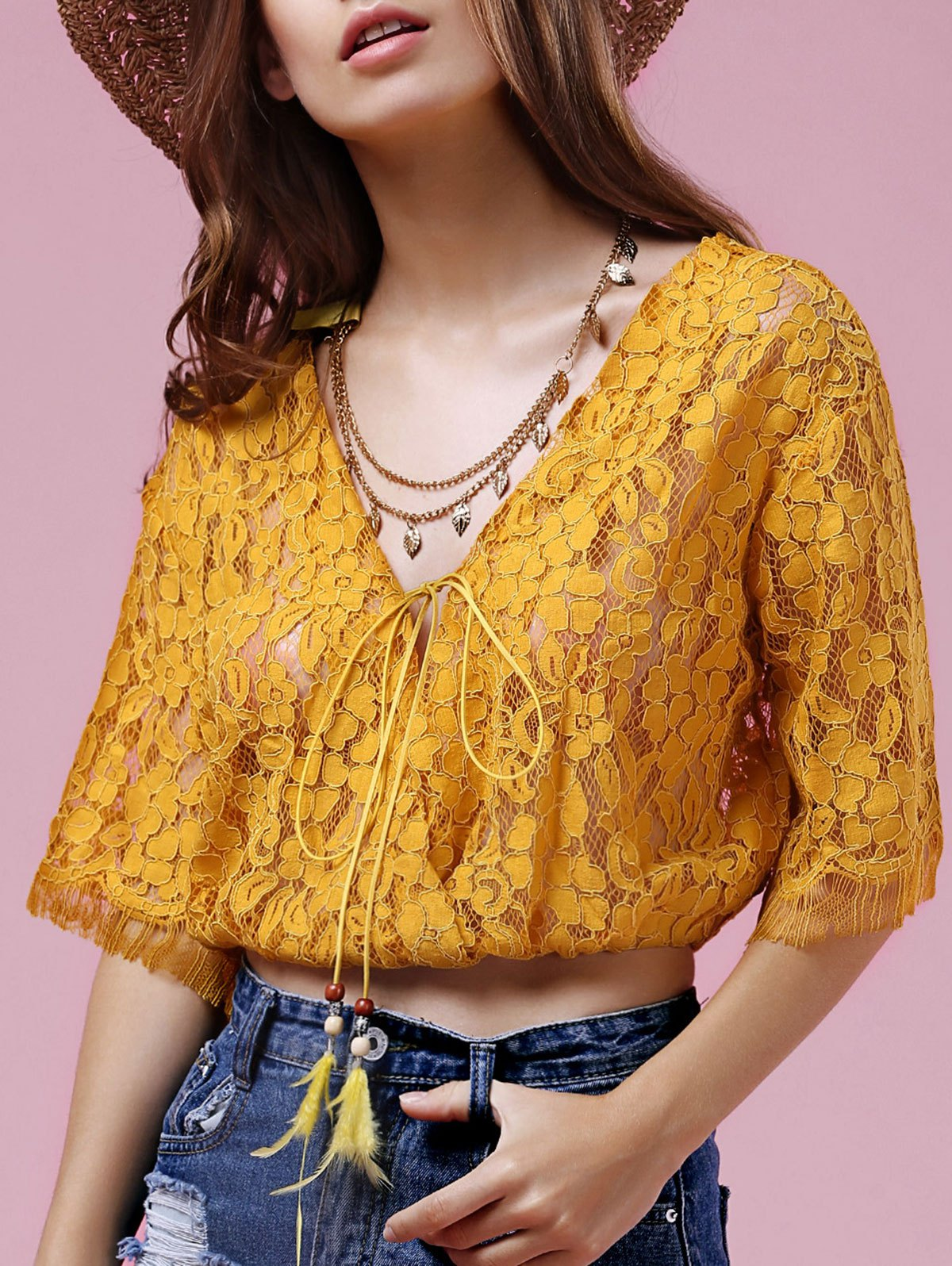 Full Lace V Neck Half Sleeve BlouseClothes<br><br><br>Size: ONE SIZE(FIT SIZE XS TO M)<br>Color: GOLDEN