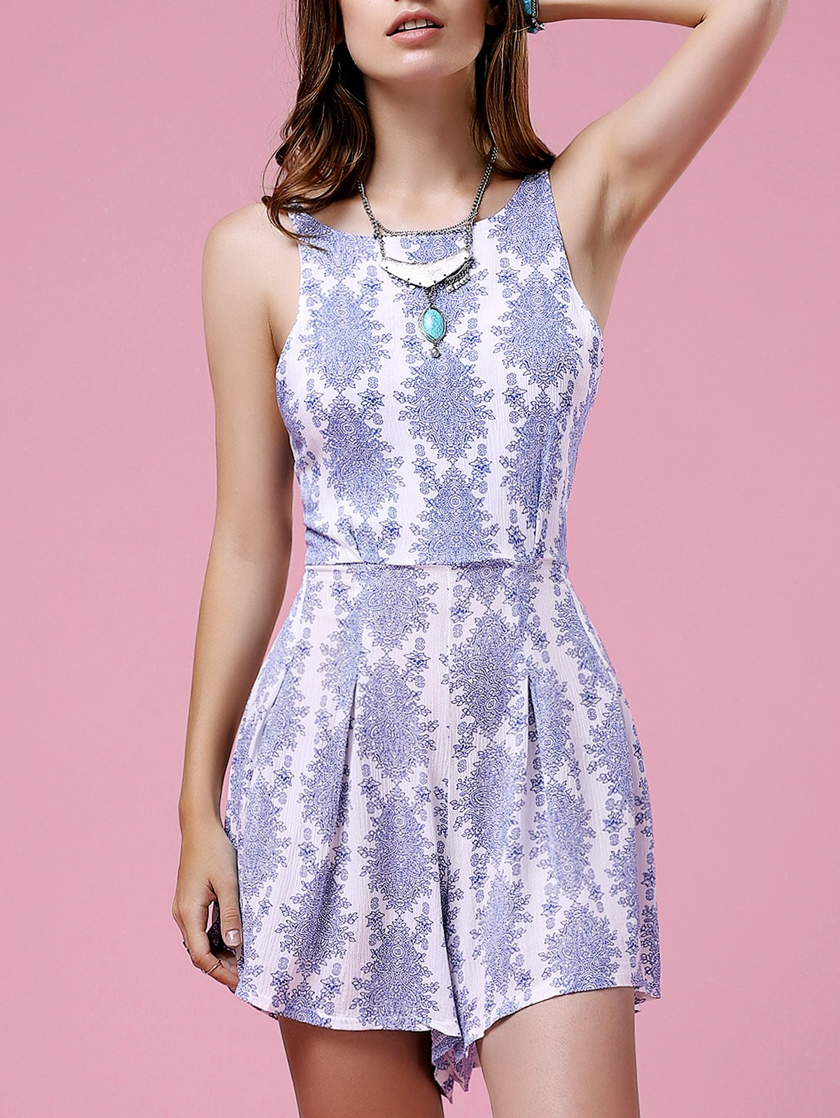 Retro Printed Cut Out Spaghetti Straps Sleeveless Dress