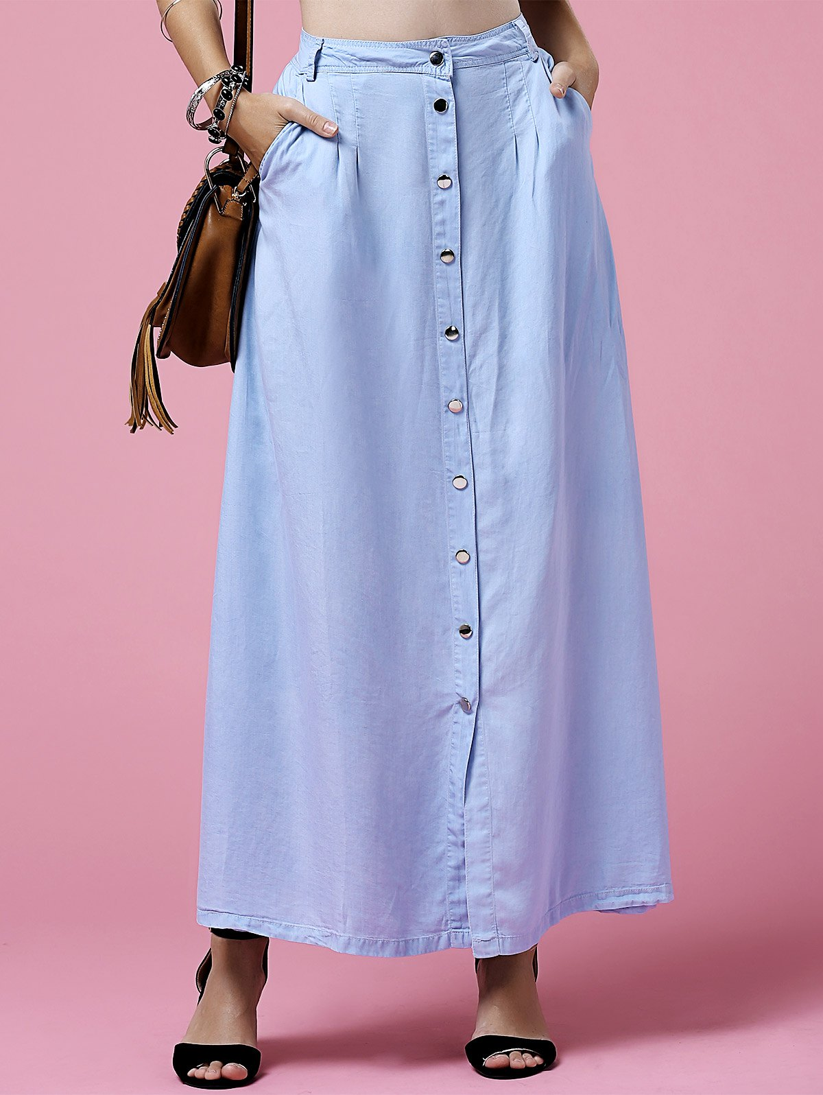 High Neck Light Blue Denim Skirt