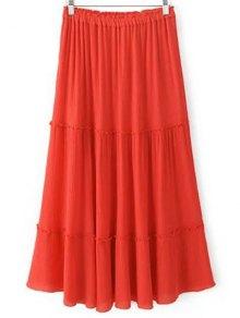 Solid Color Elastic Waist High Waist A-Line Skirt - Jacinth