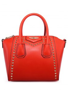 Buy PU Leather Solid Color Rivet Tote Bag RED