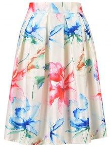 High Waisted A Line Flower Print Skirt - Off-white