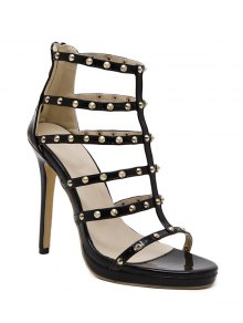 Rivet Black Stiletto Heel Sandals - Black 39