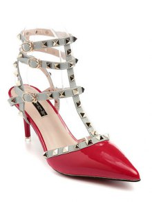 Rivet Pointed Toe Stiletto Heel Sandals - Red