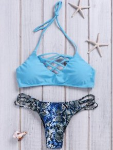 Snake Pattern Halter Neck Bikini Set