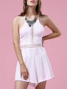 White Hollow Out Cami Romper