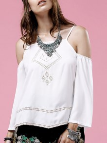 Embroidery Cami Long Sleeve Cold Shoulder Blouse - White M