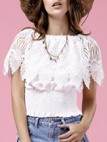 Lace Spliced Round Neck Blouse
