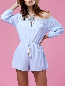 Pure Color Off The Shoulder Drawstring Playsuit