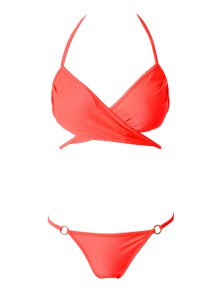 Solid Color Cross Halter Neck Bikini Set