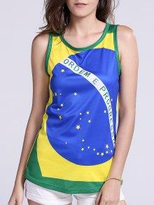 Brazil Flag Print Tank Top