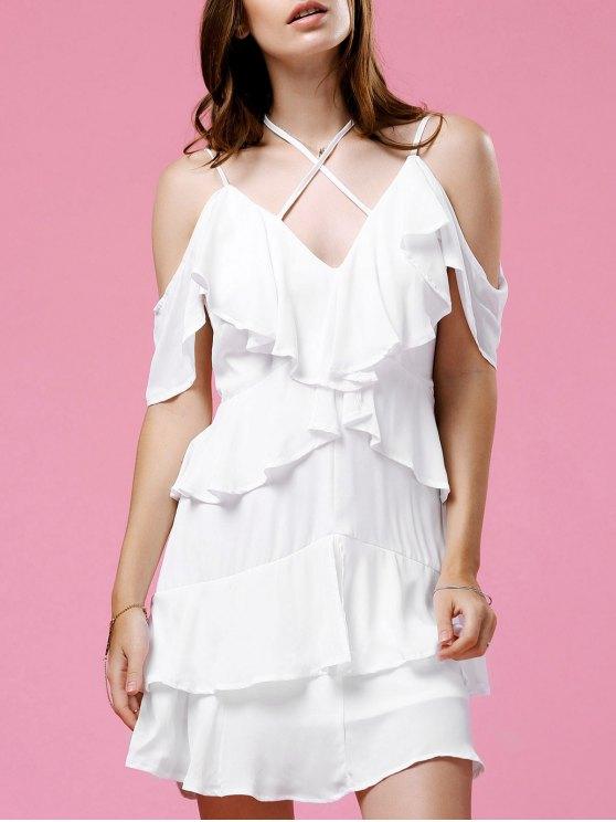 Strappy Ruffle White Dress - WHITE M Mobile