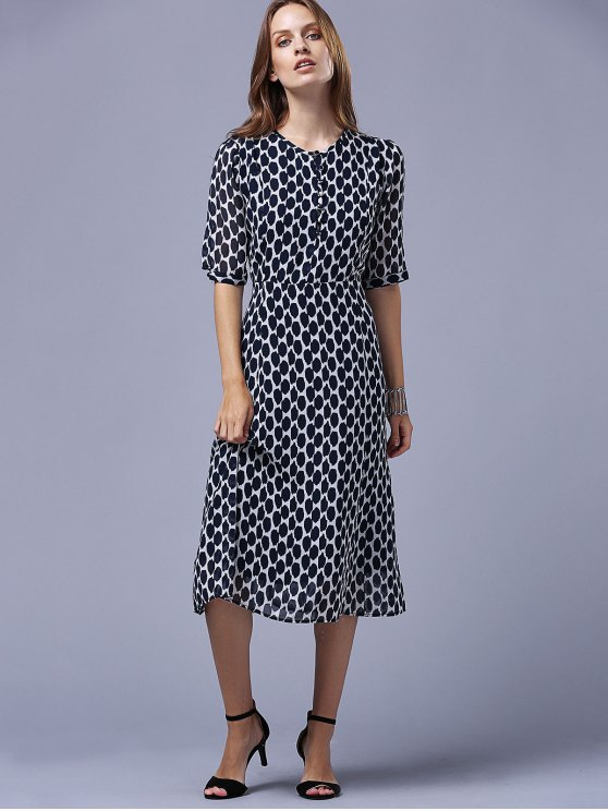 Polka Dot Round Neck Half Sleeve Swing Dress - PURPLISH BLUE M Mobile