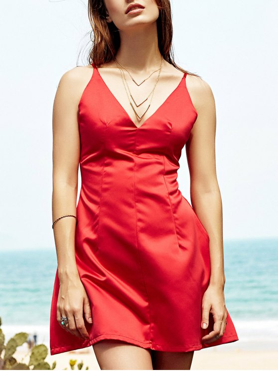 affordable Low Cut Mini Party Dress - RED L