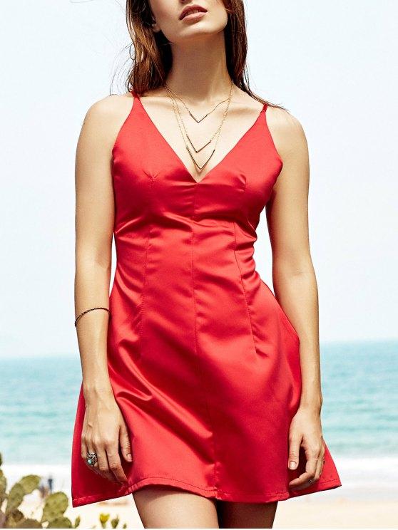 Mini vestido escotado del partido - Rojo L