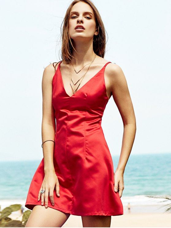 Low Cut Mini Party Dress - RED M Mobile