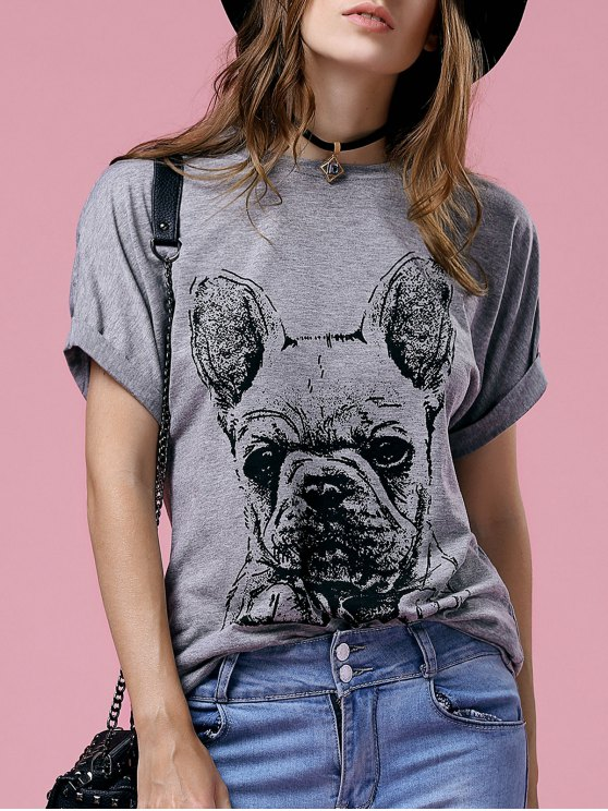 outfits Short Sleeve Cartoon Printed Round Neck T-Shirt - GRAY S