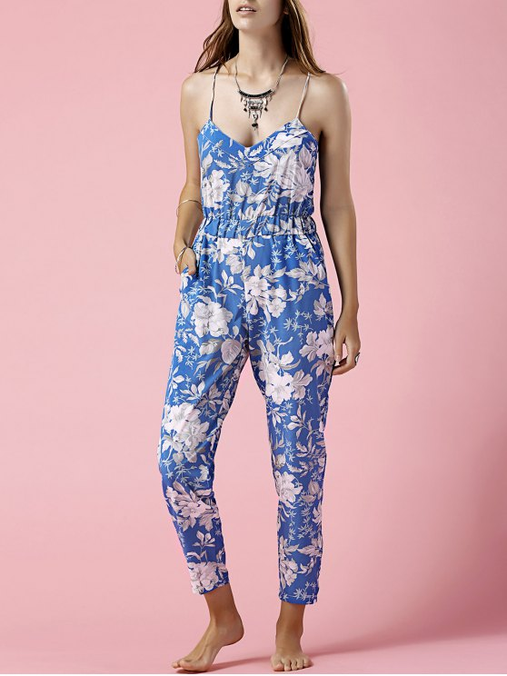 women Blue Floral Print Cami Jumpsuit - BLUE L
