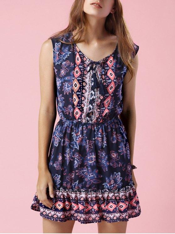 online Printed V-Neck Sleeveless Waisted Dress - PURPLISH BLUE M