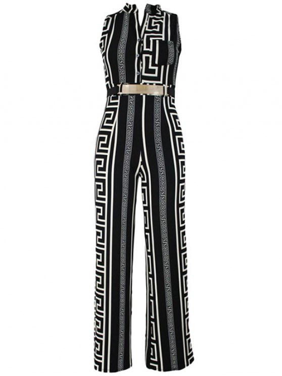 trendy Printed Stand Neck Sleeveless Jumpsuit - BLACK 3XL