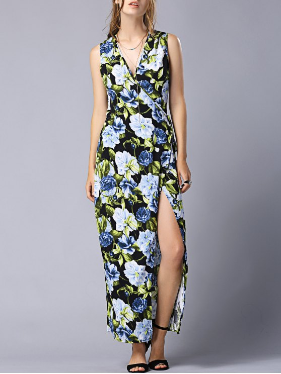 ladies High Slit V-Neck Floral Wrap Maxi Dress - COLORMIX M