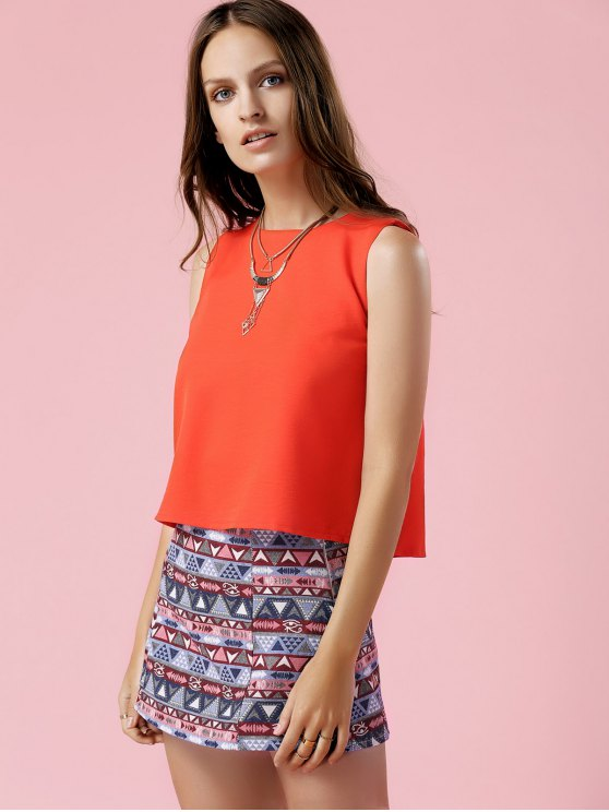 Orange Tank Top and Geometric Print Skirt Suit - COLORMIX L Mobile